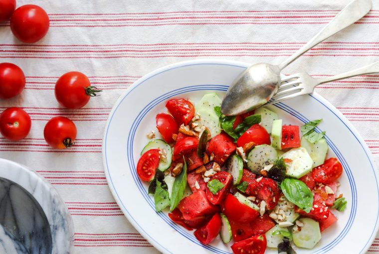 insalata, anguria, cetriolo, pomodori