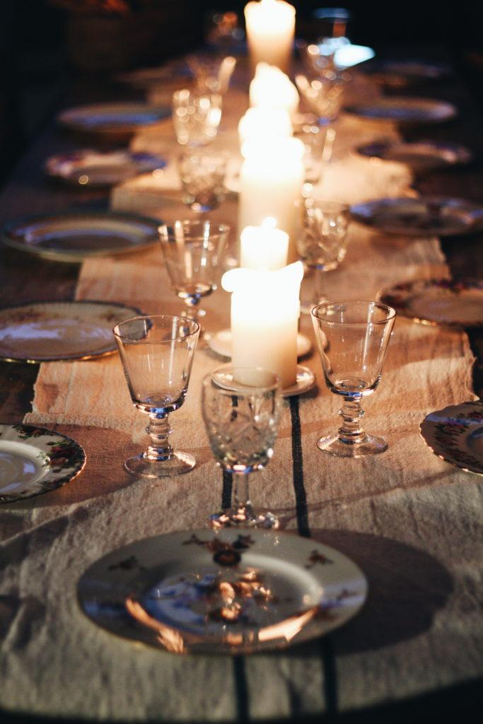 tavolo, candele, valdirose, toscana, mice en place