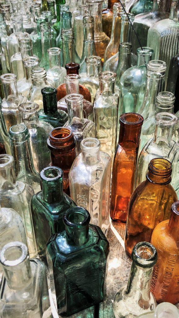bottiglie, decorazioni, giardino,vetro, portafiori, orticola, milano