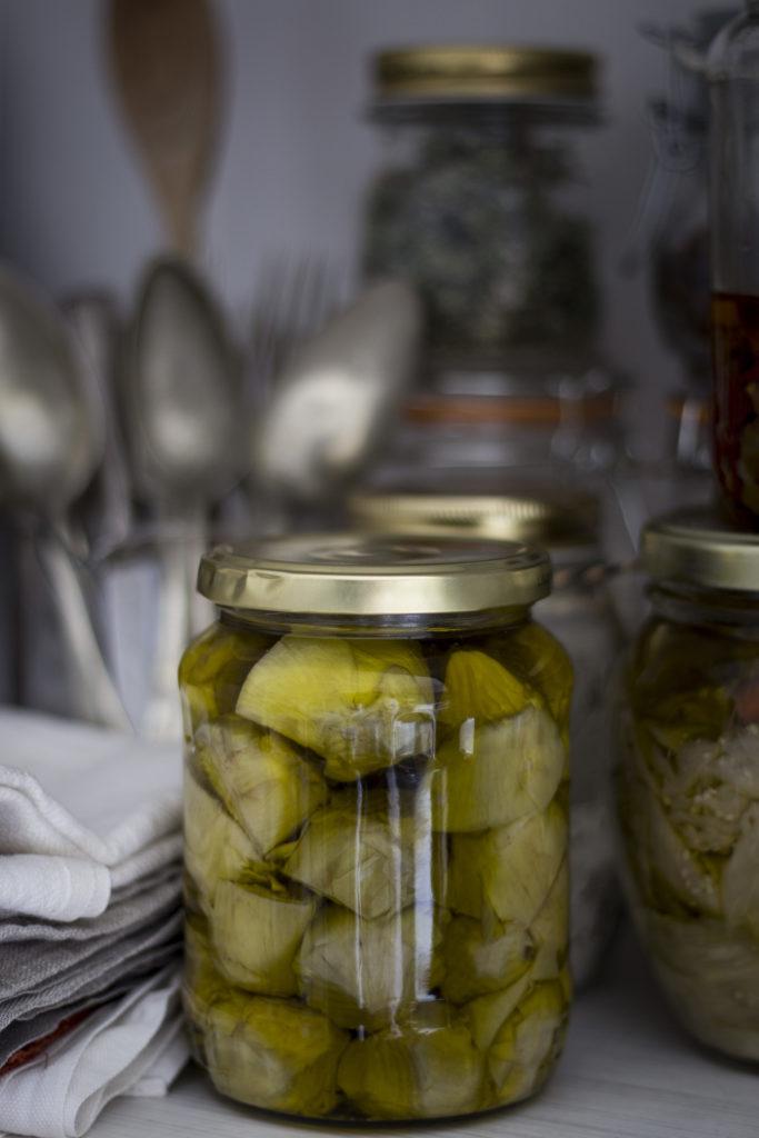 carciofi, conserve, props, cucina, dispensa,
