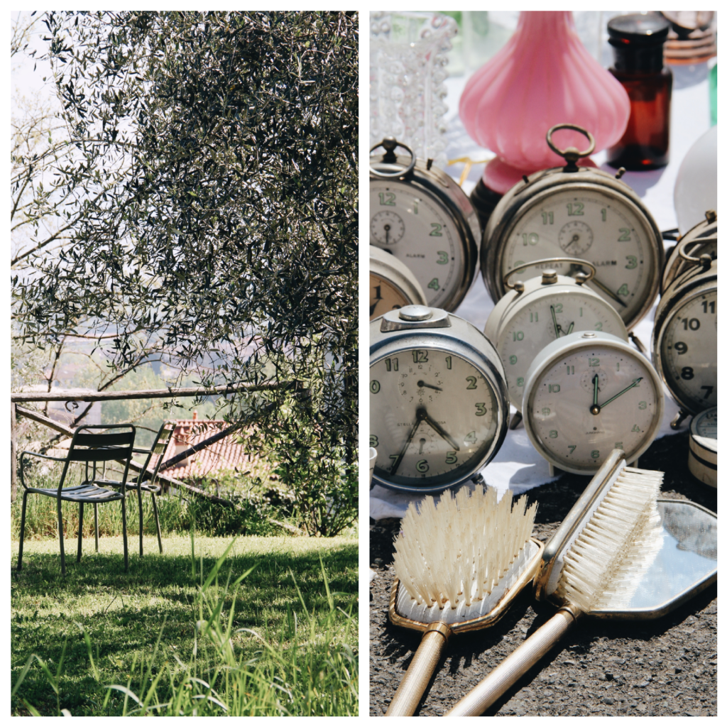 orologi, mercato vintage, sedia, giardino, valdirose, toscana, firenze