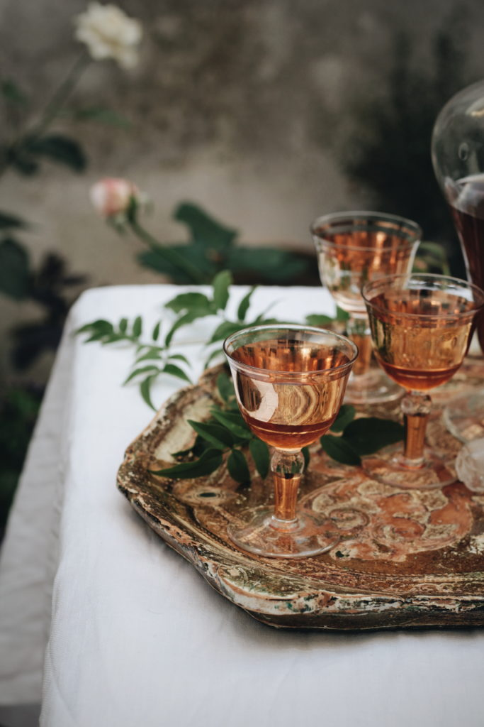 vassoio, bicchieri, giardino, ricetta, liquore
