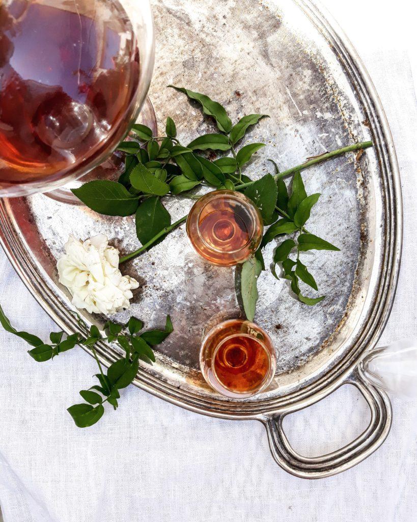 vassoio, liquore, rosa, giardino