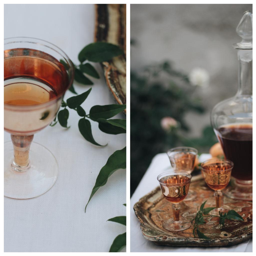 bicchiere, vassoio, giardino, liquore, nespolino, basilicata, acacde in tavola