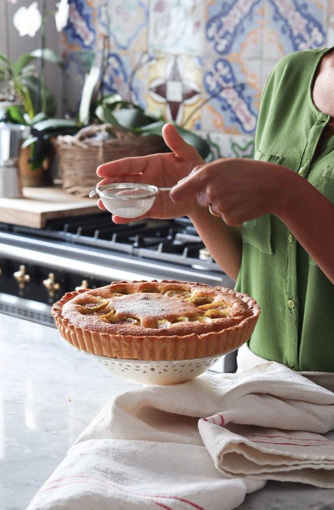 cucina, zucchero a velo, torta di fichi